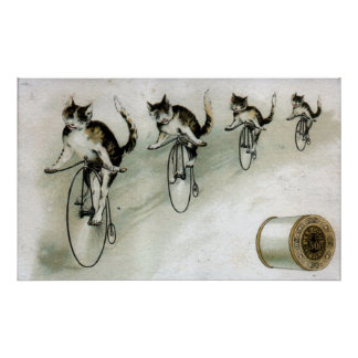 Anuncio del vintage - gatos en las bicis impresiones