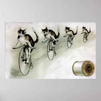 Anuncio del vintage - gatos en las bicis póster