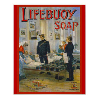 Anuncio del vintage, jabón de Lifebuoy Póster