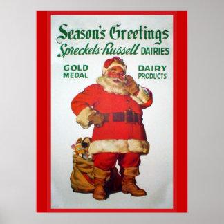 Anuncio del vintage, lecherías de Spreckels Russel Poster