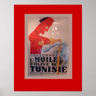 Anuncio del vintage, L'Huile de d'Olive Tunisie Póster