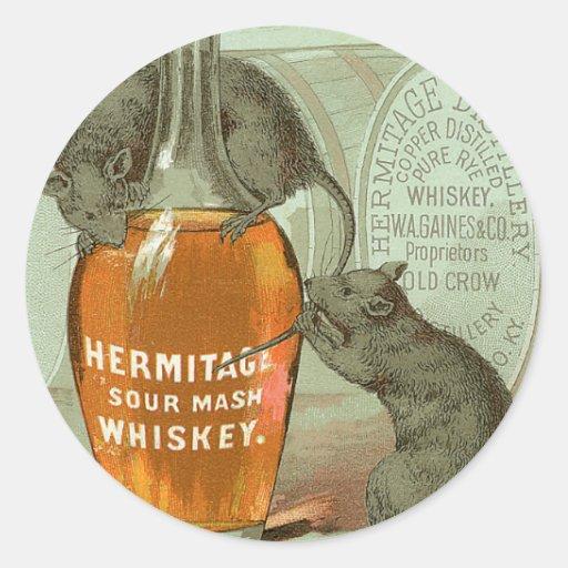 Anuncio del whisky de puré amargo de la ermita con pegatinas redondas