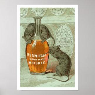 Anuncio del whisky de puré amargo de la ermita con póster