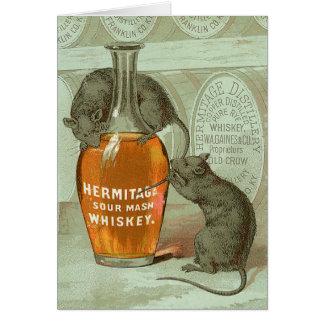 Anuncio del whisky de puré amargo de la ermita con tarjeta de felicitación