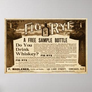 Anuncio del whisky de Rye del higo del vintage a p Póster