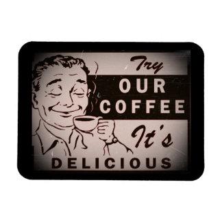 Anuncio delicioso retro del café iman flexible
