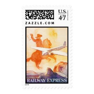 Anuncio expreso 1935 de la agencia del ferrocarril timbres postales