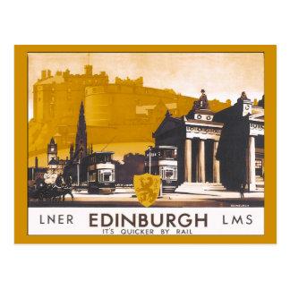 Anuncio ferroviario del viaje de Edimburgo Tarjeta Postal