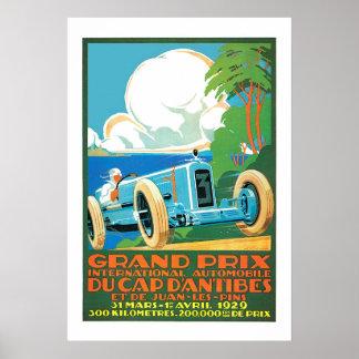 Anuncio francés 1929 el competir con auto de Grand Posters