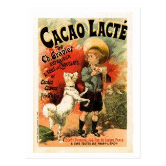 Anuncio francés de la bebida del chocolate calient postales