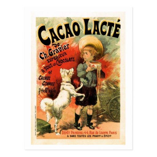 Anuncio francés de la bebida del chocolate tarjetas postales