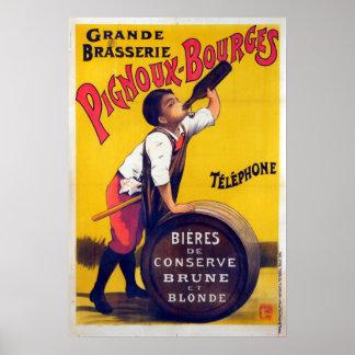 Anuncio francés de la cerveza del vintage póster