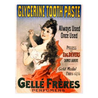 Anuncio francés de la goma de diente de la postal