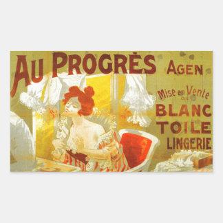 Anuncio francés de la mujer del victorian de la pegatina rectangular