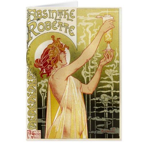 Anuncio francés del ajenjo del vintage tarjeta de felicitación