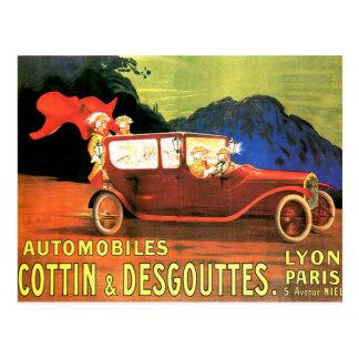 Anuncio francés del coche de motor del vintage del postal