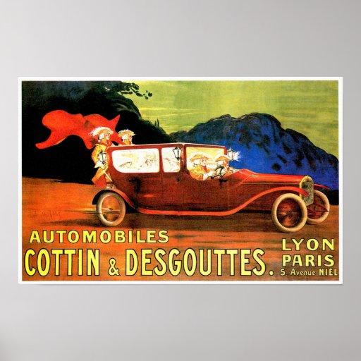 Anuncio francés del coche de motor del vintage del póster