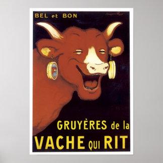 Anuncio francés del queso gruyere poster