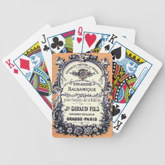 Anuncio francés del vinagre balsámico barajas de cartas