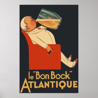 Anuncio francés retro Le Bon Bock de la cerveza Poster