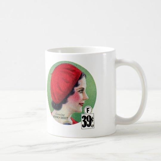 Anuncio francés rojo de la boina del vintage de la taza de café