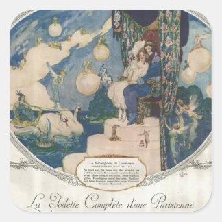 Anuncio francés romántico del perfume de Djerkiss Pegatina Cuadrada
