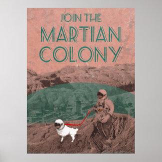 Anuncio futurista de la colonia marciana póster