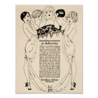 Anuncio hermoso del champú de los años 20 póster