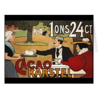 Anuncio holandés 1897 del cacao tarjeta de felicitación grande