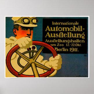 Anuncio internacional del coche de motor del vinta póster