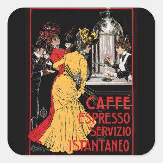 Anuncio italiano del café express del café del pegatina cuadrada
