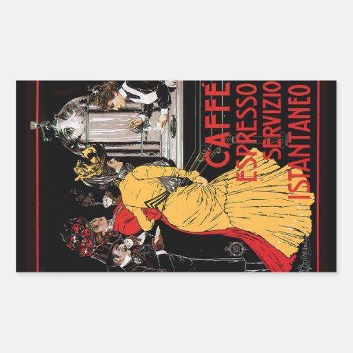 Anuncio italiano del café express del café del pegatina rectangular