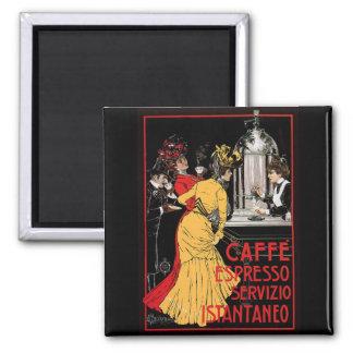 Anuncio italiano del café express del café del vin imán cuadrado