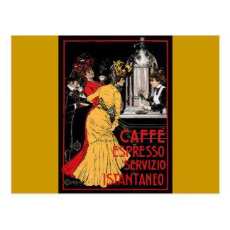 Anuncio italiano del café express del café del vin tarjetas postales