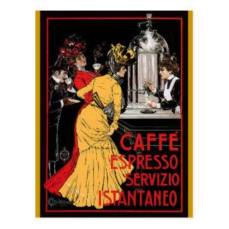 Anuncio italiano del café express del café del vin tarjeta postal