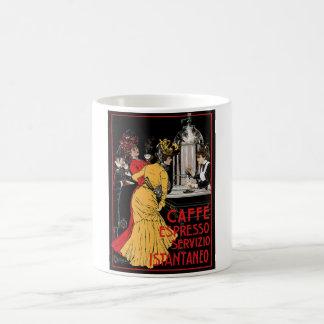 Anuncio italiano del café express del café del vin taza básica blanca