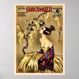Anuncio italiano del vermú del vino del vintage impresiones