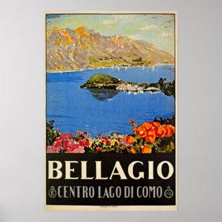 Anuncio italiano del viaje de Bellagio de los años Poster