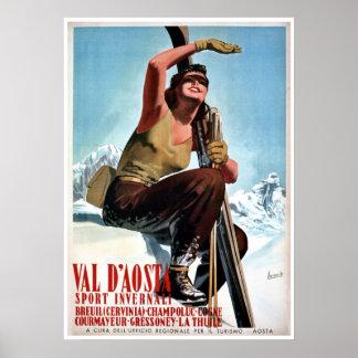 Anuncio italiano del viaje del esquí de los deport poster