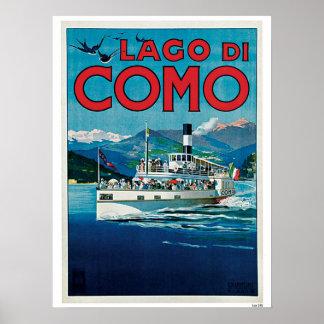 Anuncio italiano del viaje del lago Como del vinta Poster