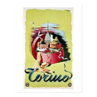Anuncio italiano retro del viaje de Turín Torino Postales