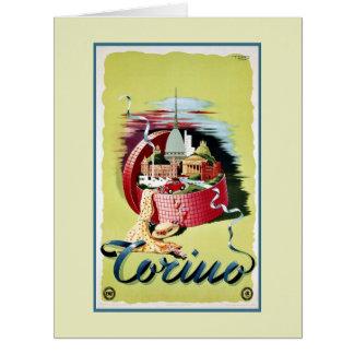 Anuncio italiano retro del viaje de Turín Torino Tarjeta De Felicitación Grande