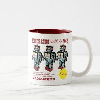 Anuncio japonés retro del robot del juguete taza dos tonos