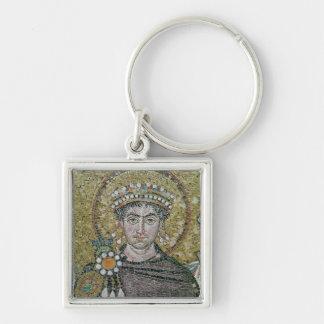 ANUNCIO justiniano del emperador I c.547 Llavero Cuadrado Plateado