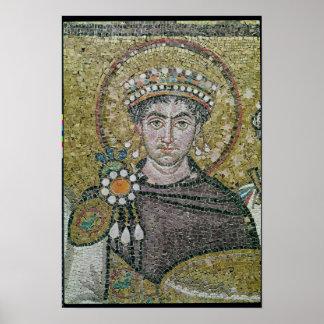 ANUNCIO justiniano del emperador I c.547 Posters