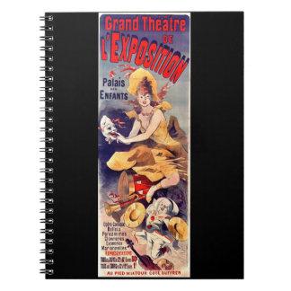 Anuncio magnífico 1899 del teatro libros de apuntes con espiral