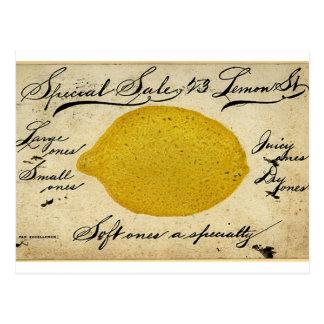 Anuncio manuscrito de la postal del limón del vint