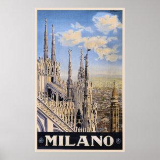Anuncio Milano Italia del viaje de Litho del vinta Póster