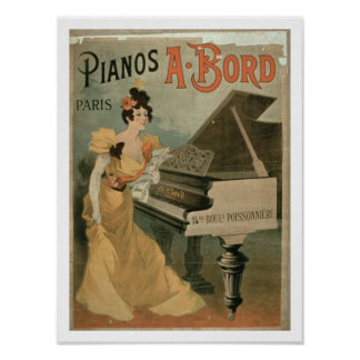 """Anuncio para """"A. Bord Pianos, París"""" (color Impresiones"""
