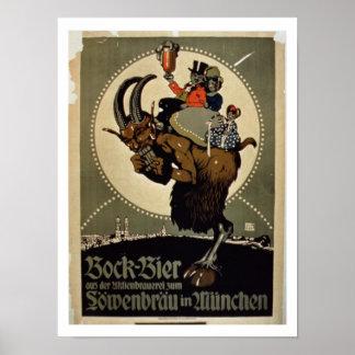 Anuncio para la 'cerveza de Bock del cervecero de  Poster